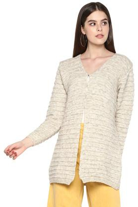 Womens V Neck Slub Knitted Cardigan