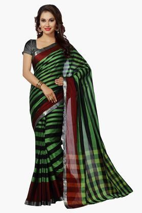 ISHIN Womens Mercerised Silk Stripe Saree