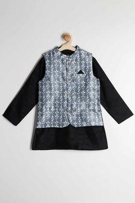 STOP - Black & WhiteKurta Pyjama Jacket Set - 2