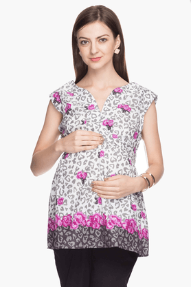 NINE MATERNITY Womens Comfort Fit Printed Top