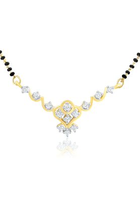 MAHI Mahi Gold Plated Princess Single Chain Mangalsutra Set With CZ & Pearl For Women NL1102000G