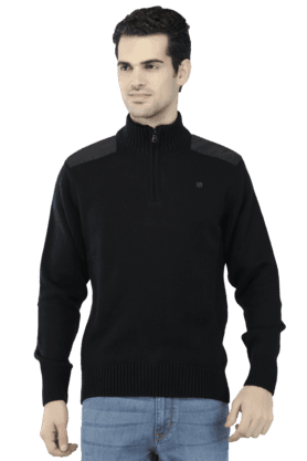 MONTE CARLO Mens Full Sleeves Mao Collar Slim Fit Solid Sweatshirts