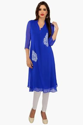 IRA SOLEILWomens A Line Fit Solid Kurta (Buy Any Ira Soleil Product And Get A Charms Bracelet Free)