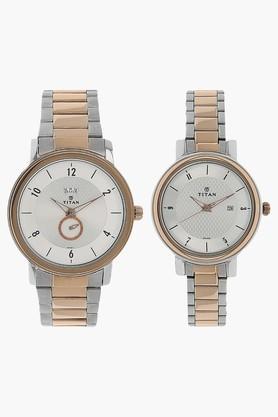 TITAN Unisex Analogue Couple Watch - 94402554KM01  ...