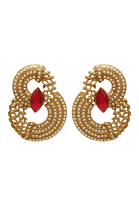 DONNATraditional Ethnic Gold Plated Curvy Pearls Dangler Earrings With Crystal & Pearl For Women By Donna ER30044GRed (Use Code FB20 To Get 20% Off On Purchase Of Rs.1800)