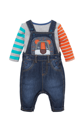 MOTHERCARE Baby Lion Dungarees And Bodysuit Set