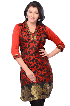 DEMARCA Womens Embellished Kurta (Buy Any Demarca Product & Get A Pair Of Matching Earrings Free)