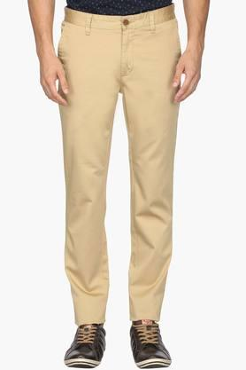WILLS LIFESTYLE Mens Skinny Fit 4 Pocket Solid Chinos
