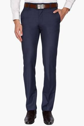 VAN HEUSEN Mens 4 Pocket Solid Formal Trousers  ...