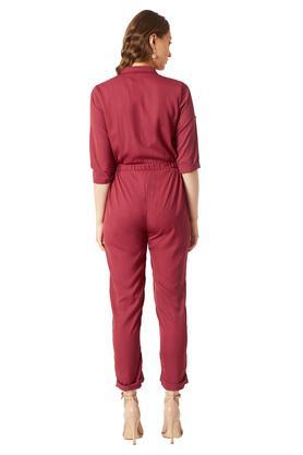 Womens 2 Pocket Solid Jumpsuit