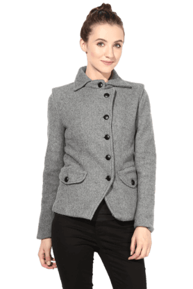 THE VANCA Women Polar Fleece Jacket In Grey Color