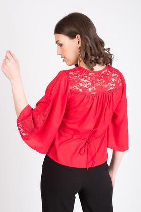 Womens Round Neck Lace Blouse