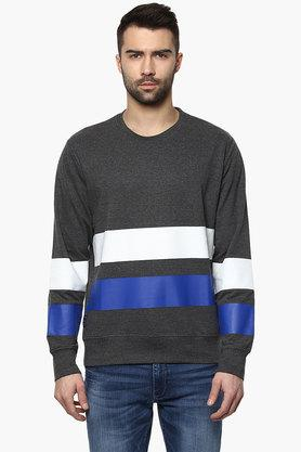 BLUE SAINT Mens Dark Grey Striped Sweatshirt  ...