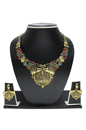 ZAVERI PEARLS Designer Laxmi Temple Jewel Necklace Set- ZPFK1153