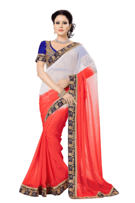 DEMARCA Women Faux Chiffon Saree (Buy Any Demarca Product & Get A Pair Of Matching Earrings Free) - 200875777