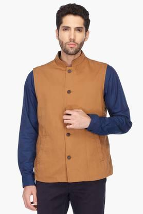 INDIAN TERRAIN Mens Regular Fit Solid Nehru Jacket (Bandhgala Fit) - 201260556