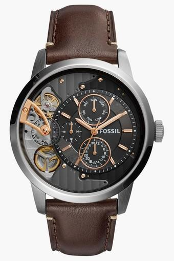Mens Mechanical Twist Multi-Function Leather Watch