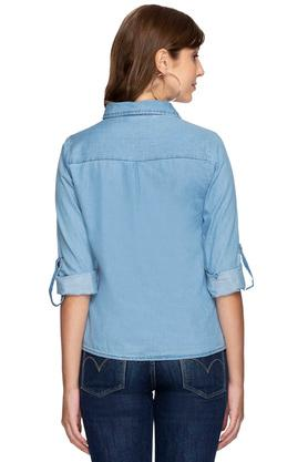 Womens Collared Rinse Wash Embroidered Shirt