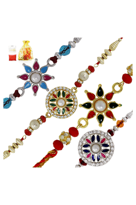 MAHI Crystals And Beads Assorted Floral Rakhi Combo Of Four Rakhis For Men