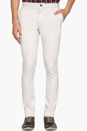 INDIAN TERRAIN Mens Slim Fit 4 Pocket Solid Trousers (Urban Fit)