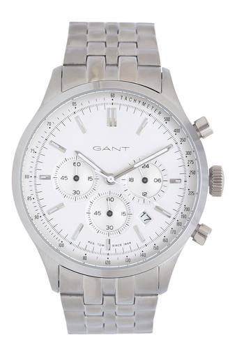 Mens White Dial Chronograph Metallic Watch - GT080005