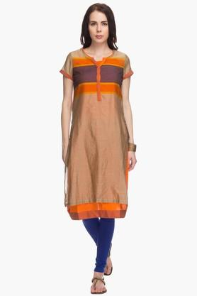 BIBA Womens Striped Regular Fit Kurta