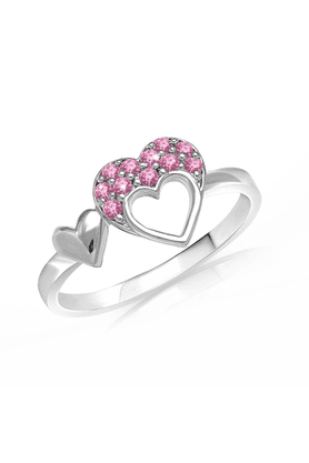 MAHI Mahi Valentine Love Rhodium Plated Pink Heart Ring Made With Swarovski Elements For Women FR1104001RPin