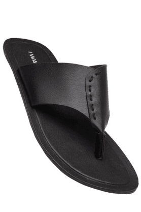 IWALK Mens Black Leather Chappal