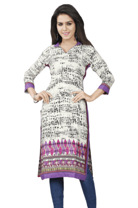 DEMARCA Womens Printed Kurta (Buy Any Demarca Product & Get A Pair Of Matching Earrings Free) - 200936915