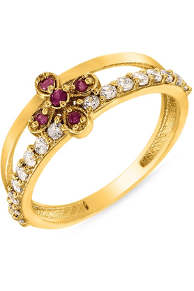 MAHI Mahi Gold Plated Creative Melange Ring With Ruby And CZ Stones For Women FR1100295G