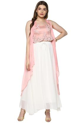 Womens Strappy Neck Embroidered Skirt Top and Shrug Set
