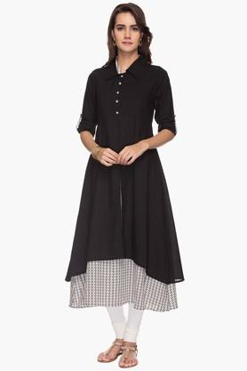 STOP Womens Collared Printed Layered Kurta