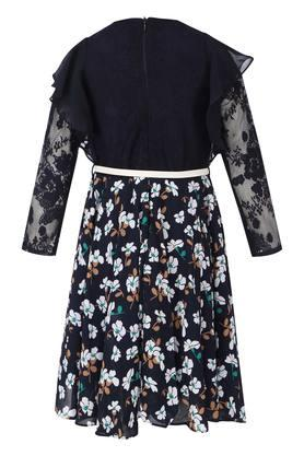 Girls Round Neck Lace Floral Printed Flared Lace Yoke Dress with Belt