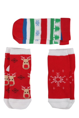 KARROT Girls Woollen Printed Socks Set Of 3 - 200194458