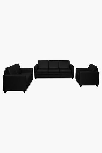 Tarmac Black Leatherette Sofa (3-2-1 Sofa Set)