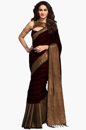 ISHIN Women Poly Cotton Zari Border Saree - 202528591