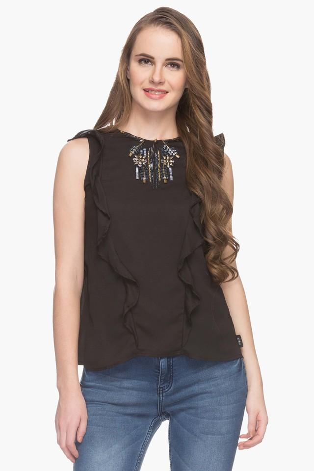 Womens Key Hole Neck Embellished Solid Top