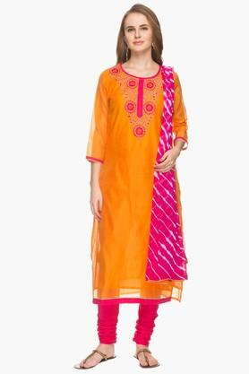 STOP Womens Resham Embroidered Churidar Suit