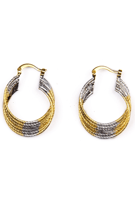 TRIBAL ZONE 2 Tone Hoop Earrings With A Twist