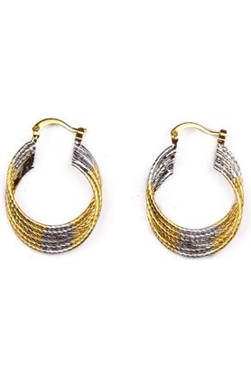 TRIBAL ZONE2 Tone Hoop Earrings With A Twist