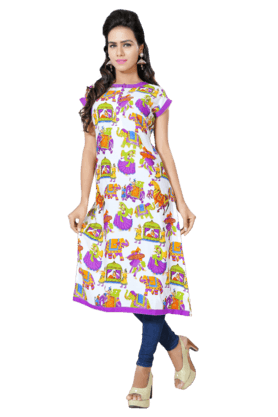 DEMARCA Womens Printed Kurta (Buy Any Demarca Product & Get A Pair Of Matching Earrings Free) - 200936939