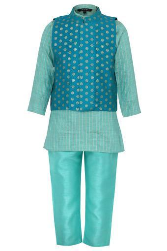Boys Mandarin Collar Striped Kurta and Pyjama Set with Jacket