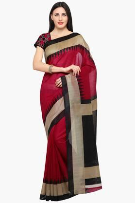 ISHIN Women Bhagalpuri Art Silk Zari Border With Embroidered Blouse Saree - 202528615
