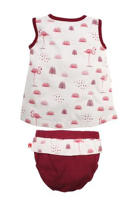 Girls Round Neck Printed A-Line Dress with Bloomer and Bow