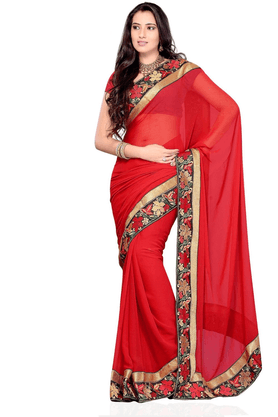 DEMARCA De Marca Red Chiffon Designer DF-9046A Saree