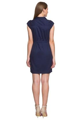 Womens Notched Lapel Solid A-Line Dress