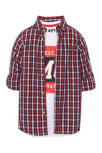 Boys Button-Down Collar Checked Shirt with Tee