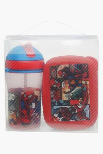Unisex Spider Man Tiffin Box and Sipper Combo Set