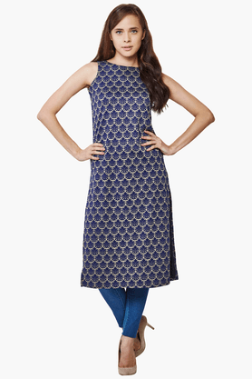 AND Womens Slim Fit Printed Kurta