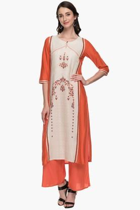 Womens Round Neck Colour Block Printed Kurta